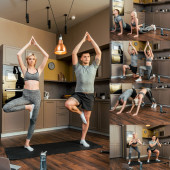 collage of sportive couple doing exercises and practicing yoga at home