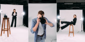 Collage of photographer taking photo with digital camera and stylish model posing in photo studio