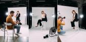Kollázs fotós és gyönyörű elegáns modell dolgozik a fotó stúdió