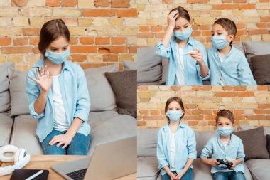 KYIV, UKRAINE - 27 Nisan 2020: tıbbi maskeli çocuğun kolajı dizüstü bilgisayarın yanında el sallaması, dijital termometre tutması ve video oyunu oynaması