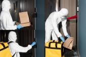 Kollázs futár vegyvédelmi ruha és orvosi maszk csengő és gazdaság csomag pizza dobozok ajtó közelében