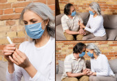 collage of mature woman in medical mask holding digital thermometer near husband and holding hands