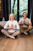 Photo relaxed mature couple with closed eyes and praying hands sitting in lotus pose