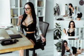 Collage of sensual secretary drinking coffee, working with papers and sitting at working table in office