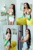 Photo Collage of sensual woman in rubber gloves using rag and broom at home