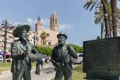 SITGES, SPAIN - APRIL 30, 2020 : Monument to Santiago Rusinol and Ramon Casas on urban street