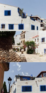 CATALONIA, SPAIN - APRIL 30, 2020: Collage of houses and trees on urban streets with blue sky at background stock vector