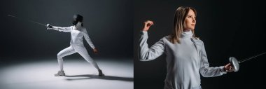 Collage of beautiful fencer holding rapier on black background