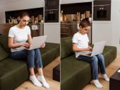 Fotografie Collage von Mutter und Sohn mit Laptop auf dem heimischen Sofa