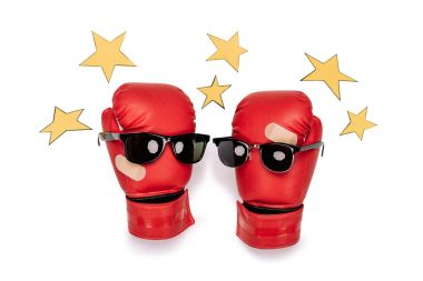 Boxing gloves with sunglasses