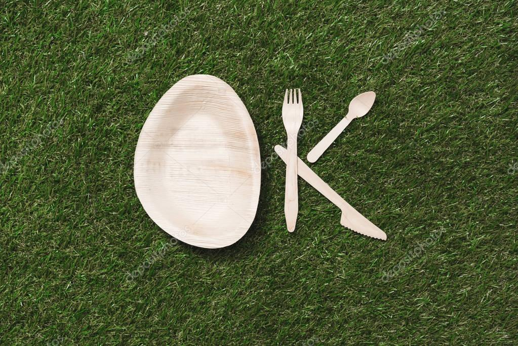 wooden cutlery items and plate on grass