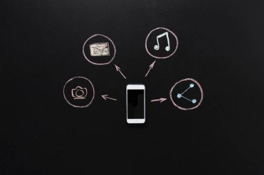 social networking icons around of smartphone