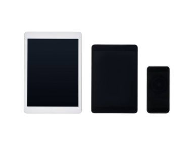 Set of digital tablets and smartphone mock up isolated on white stock vector