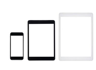 tablet computers and smartphone with blank screens