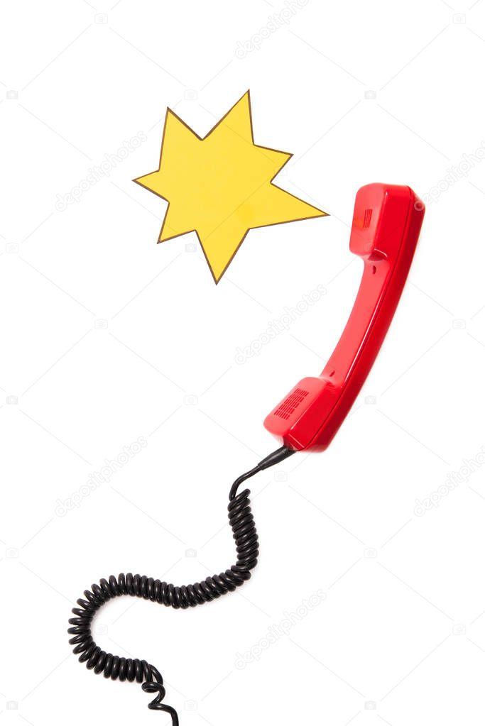 Telephone handset and speech bubble