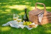 piknikový koš s ovocem a vínem