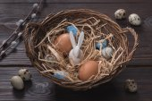Photo high angle view of chicken and quail easter eggs and rabbit in nest