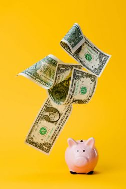 close up view of pink piggy bank and falling dollar banknotes isolated on yellow
