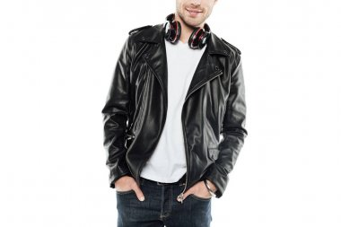 man with headphones on neck