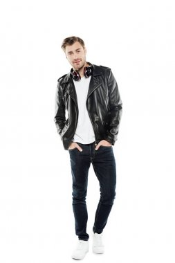 stylish man in leather jacket with headphones