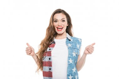 American style girl showing thumbs up