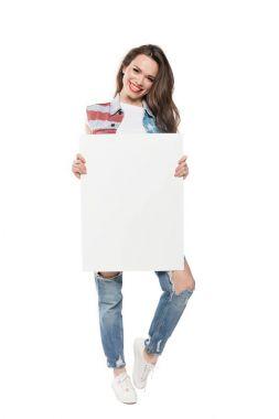 Smiling caucasian girl holding empty banner isolated on white stock vector