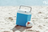 cooler box and volleyball ball