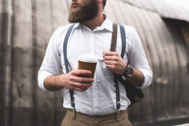bearded man on coffee break