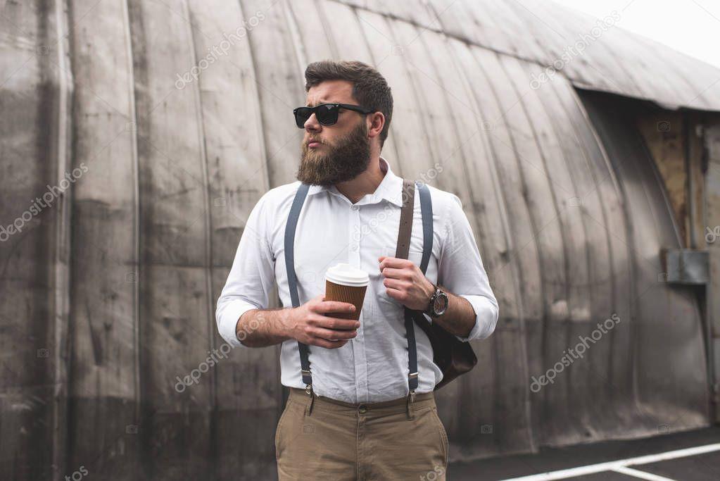 bearded man on coffee break
