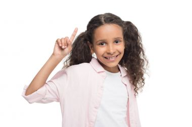 Girl pointing up with finger