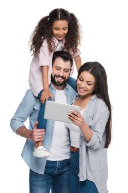 Family using digital tablet