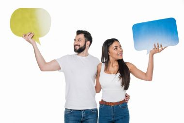 couple holding chat cards
