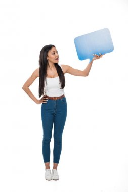 woman holding chat card