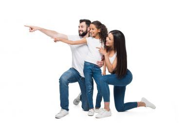 family pointing away with fingers