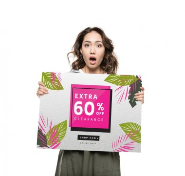 Attractive shocked asian woman holding floral sale banner with sixty percent off stock vector