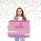 Woman with sale banner