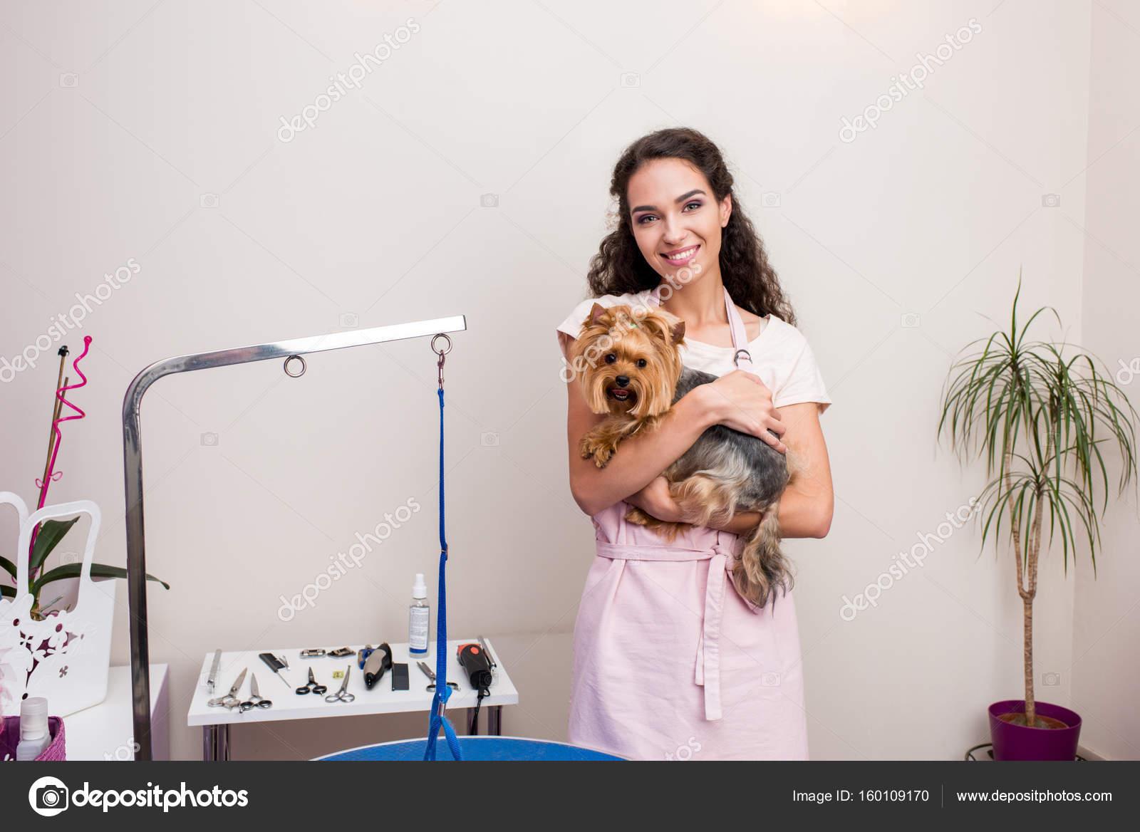 tondeuse avec chien dans le salon pour animaux de compagnie photographie allaserebrina. Black Bedroom Furniture Sets. Home Design Ideas