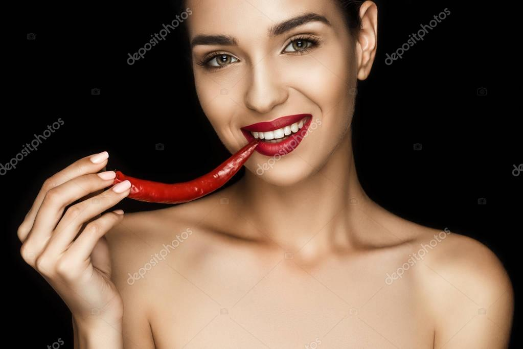 seductive woman with chili pepper