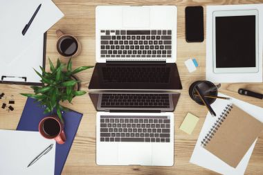 laptops and gadgets at workplace