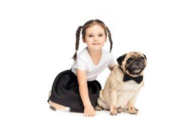girl with pug dog