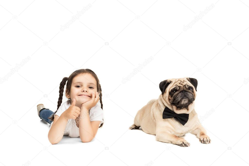 girl with pug dog