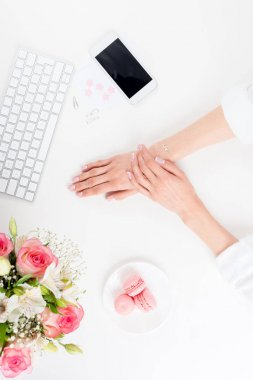 female hands at workplace