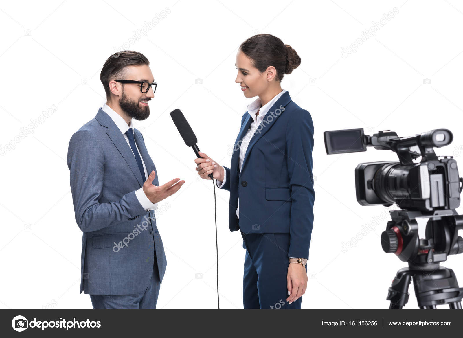 journalist interviewing a businessman stock photo allaserebrina
