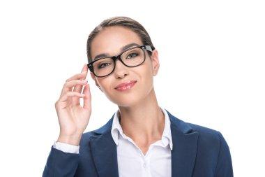 attractive businesswoman in eyeglasses