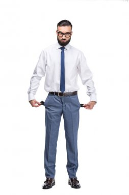 businessman with empty pockets