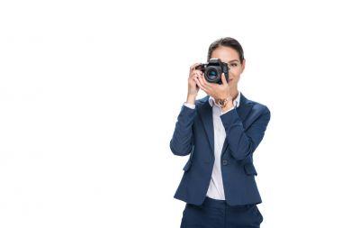businesswoman taking photo on camera