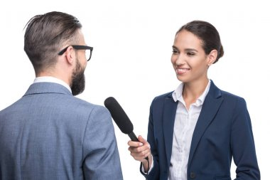 journalist interviewing a businessman