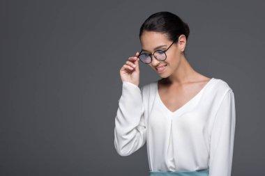 fashionable businesswoman in eyeglasses