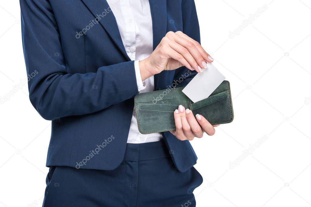 businesswoman holding wallet