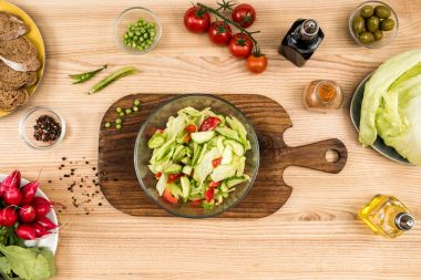 homemade summertime salad in bowl